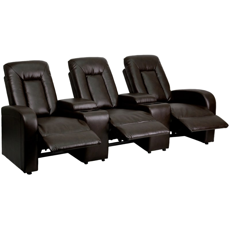Kegerator Home TS-73259 Marie Series 3-Seat Reclining Leather Theater Seating Un